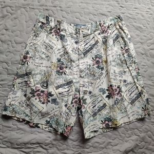 Vintag High Waist Linen Print Pocket Shorts 18W